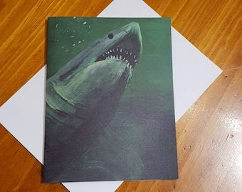 Shark card great for birthdays or other occasions blank inside