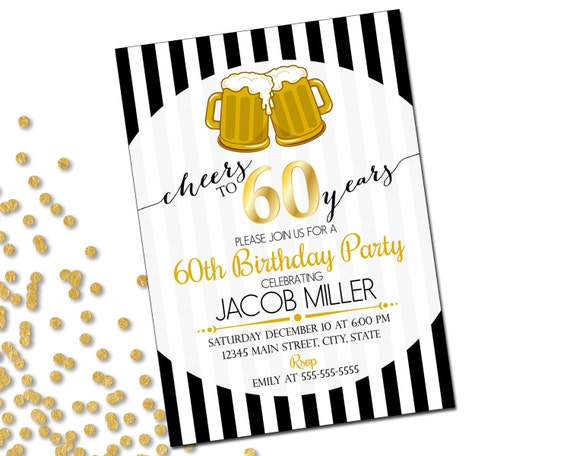 60th birthday party invitation cheers to 60 years beer 60th birthday party invitation cheers to 60 years beer birthday invitation gold black white stripes printable filmwisefo Image collections