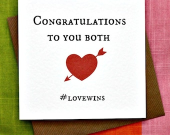 Congratulations #LoveWins -Gay Wedding Card, Gay Commitment Card, Gay Engagement Card, Gay Card, Gay Congratulations, Funny Irish Gay Card.