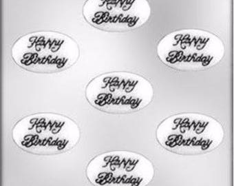 Oval Happy Birthday Mold Candy Chocolate Soap Crayon Candle Fondant Resin Baking Supplies Jenuine Crafts