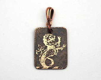 Heraldry sea lion pendant, small flat rectangular etched copper family crest, 25mm