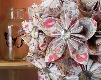 liberty origami bouquet and rhinestones