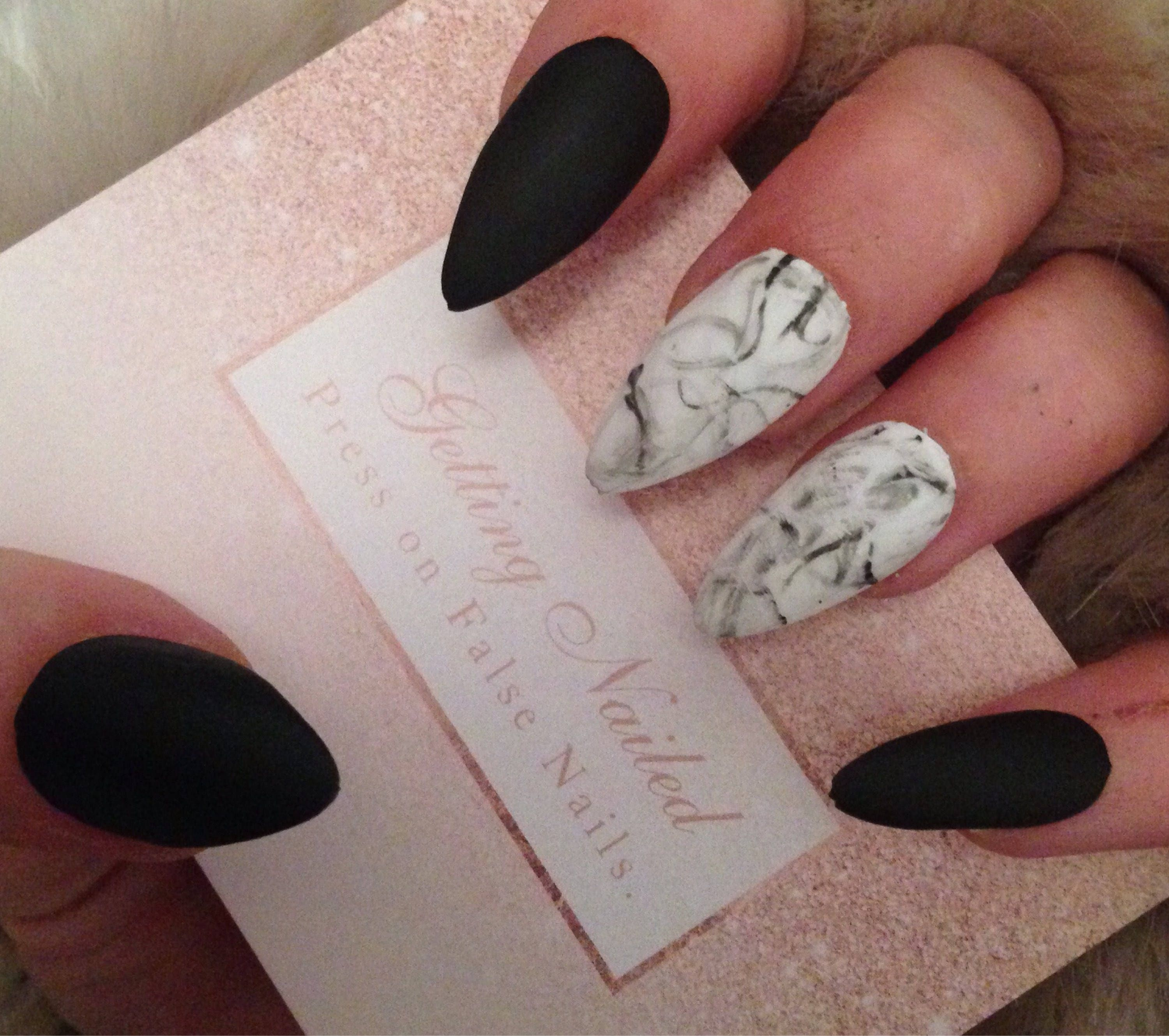 Marble false nails matte black nails marble black matte