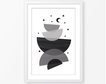 Nursery modern poster,black and white,monochromatic,moon poster,geometric poster,nursery decor,nursery wall art,digital file,kids room decor