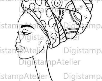 African Woman 3. INSTANT DOWNLOAD Digital Digi Stamps.