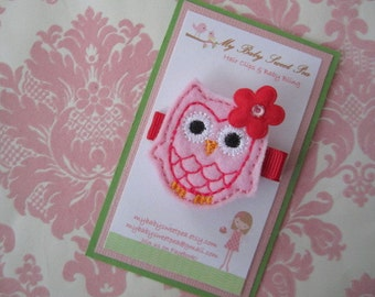 Valentine hair clips - girl hair clips - owl hair clips - girl barrettes