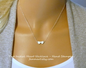 Heart Initial Necklace - Gold or silver - Initial Heart - Personalized - Hand Stamped Jewelry - Best Friends - Sisters  - Everyday