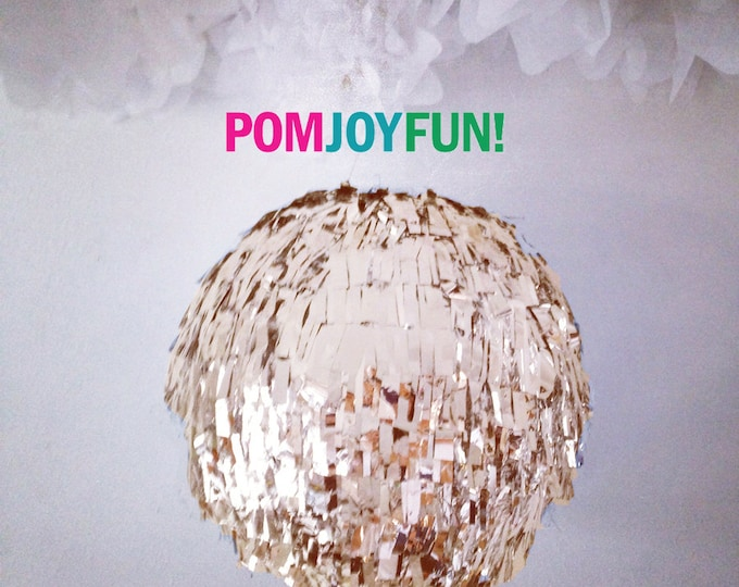 Gender Reveal Fringe Piñata Smaller Version 8 Inch, Gold Birthday Piñata, Baby Shower Piñata, Fringe Wedding Pinata, Gold Gender Reveal