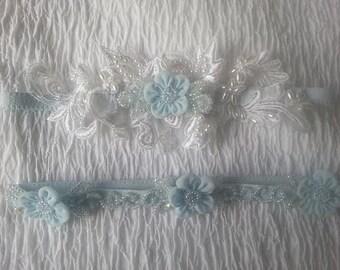 Beaded Lace Garter, Blue Wedding Garter, Bridal Lingerie, Garter Set, Toss Garter