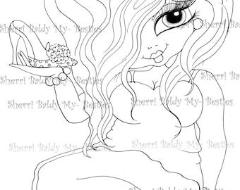 INSTANT DOWMLOAD Digital Digi Stamps Big Eye Big Head Dolls Digi New Fluffy Beautiful Besties Tm  img044 By Sherri Baldy