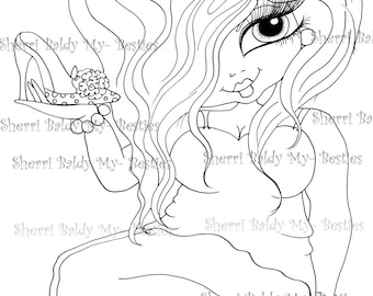 INSTANT DOWMLOAD digitale Digi Stamps Big Eye Big Head Dolls Digi New Fluffy Beautiful Besties Tm img044 By Sherri Baldy