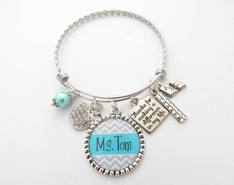 Personalized TEACHER Jewelry, Teacher Gift, Thank you gift, Gifts for Teachers, Teacher Bracelet, End of year gift, difference in my life