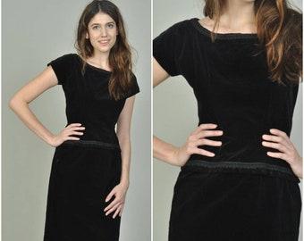 1950s Black Velvet Wiggle Dress  | vintage 1950s dress | black velvet 50s wiggle dress