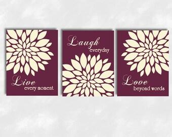 Live Laugh Love Canvas Wall Art Prints Mums Floral Modern Flourish Flower Canvas Prints Flower Burst Dahlia Bedroom Canvas Art Home Decor