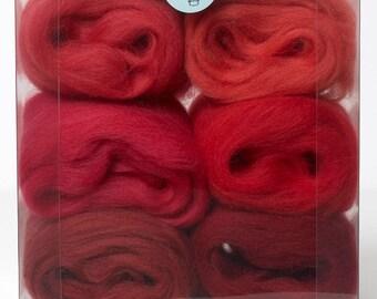 Felting Wool-Merino Wool tops Shade Pack-Red 30grams
