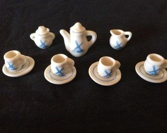 Vintage Dollhouse Miniature Porcelain Tea Set, 13 Pieces - 1970