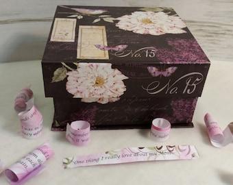 Peony Print, Pink Peony Memory Box Unique Gift, Keepsake Box with Flowers & Birds, Housewarming, Love, RoadSideBoutique, Mary Lynn Savko
