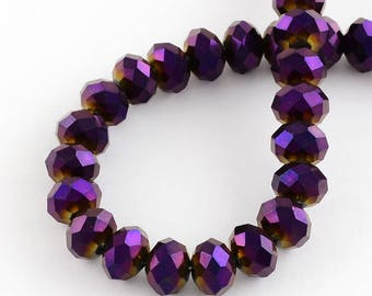 150 pcs Rondelle  FACETED GLASS CRYSTAL Beads 4mm x 3mm Jewellery Making Metallic Purple