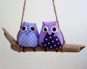 Owls on a branch, 2 lilac owls