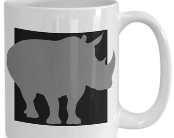Rhino Mug - Wild Safari Animal Lover Gift - 11oz and 15oz Ceramic Cup for Coffee Tea Drinks
