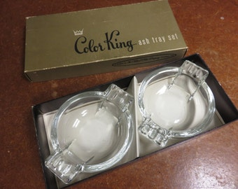 Vintage Federal Glass Co Columbus Ohio Color King Ashtray Set in Box Deco Mid Centruy Modern
