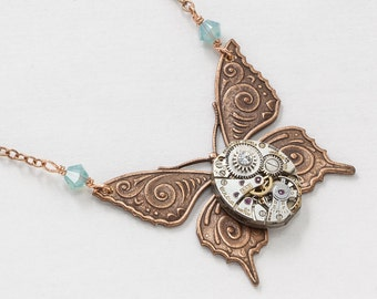 Steampunk Necklace Vintage silver watch movement gears blue opal crystal copper butterfly pendant with rose gold chain jewelry Gift