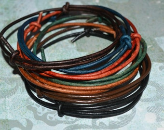 Classic Surfer Leather 2mm Bracelet Simple Wrap Many Colors Store Gift