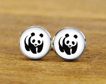 personalized cufflinks, panda cufflinks, panda cuff links, panda gifts, custom wedding cufflinks, round, square cufflinks, tie clip, or set