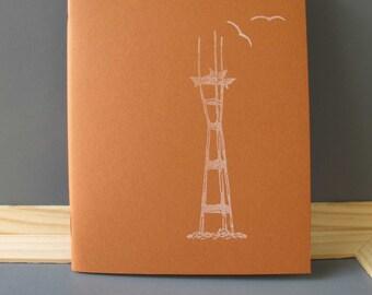Sutro Tower Notebook /// Hand Stamped /// Little Birds /// Hand Cut /// Warm Brown /// White Stamp