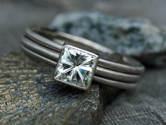Princess Cut Moissanite in 14k or 18k Gold Ring