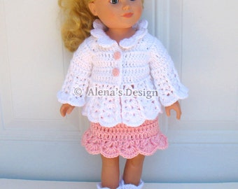 Crochet Pattern 3 PC Set for 18 in Doll - Crochet Patterns Pink and White Jacket, Skirt and Boots for 18 inch Dolls Outfit