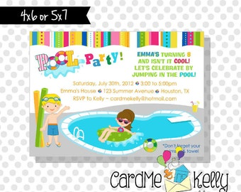 Printable Boy or Girl or Both Pool Party Swimming Birthday Water Invitation - Digital File