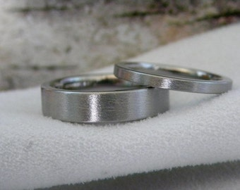Matching Ring SET or Titanium Wedding Bands, Stone Finish
