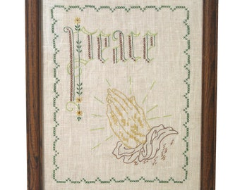 Peace Finished Cross Stitch Praying Hands Thanksgiving VTG Stamped Linen