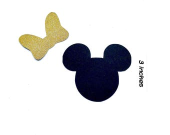 15 3inch Minnie Mouse Die Cuts - Minnie Head Cut Outs - Minnie Paper - Gold Bow