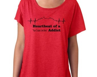 Premium Heartbeat of a Cruise Addict customizable tshirt holiday vacation travel / Vacation / Cruise shirt / 6760 Next Level
