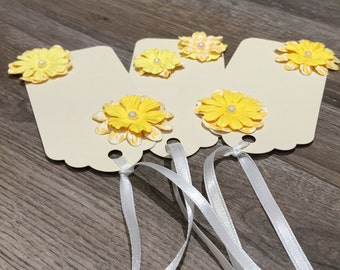 Yellow Flower Gift Tags, Set of Three Gift Tags, Flower Gift Tags, Yellow Flowers