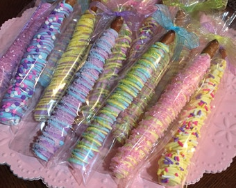 Easter Pastel Colored Pretzel Rods/ Parties/Baby Showers/Easter/Teacher's Gift/Hostess Gift/Spring/Thank You Gifts