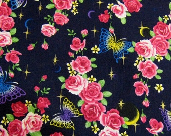 Kawaii  Navy Blue Roses and Butterflies  Cotton Fabric, Floral Cotton Fabric
