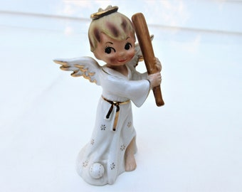Vintage Baseball Figurine | Sports Series Angel | Napcoware Japan | Angel Figurine | National Potteries