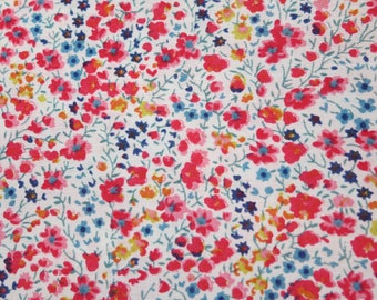 LIBERTY Of LONDON Tana Lawn Cotton Fabric  'Phoebe' Red-Orange/Bl ue Micro Floral Lg Fat Eighth  10X 26 in