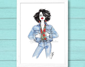 "Fashion Illustration Print. ""Floral and Denim #1."" watercolor, Fashion Art. Wall Art."
