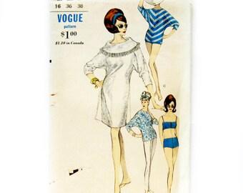 Vintage Beach Dress / MOD Two-Piece Swimsuit / Boy Shorts/ Blouse / 1950s Sewing Pattern / Vintage Vogue 6175 / Size 14