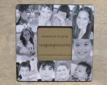 """Personalized Father's Day Picture Frame, Photo Collage Frame, Family Photo Frame, Unique Baby's First Year Frame, Christmas Gift, 8"""" x 8"""""""