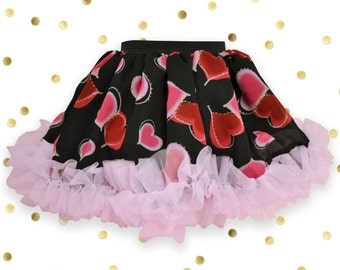 Black Flirty Skirt with Red and Pink Hearts and Pink Chiffon Ruffles for baby girl,Black baby skirt, baby tutu, twirl skirt, toddler fashion