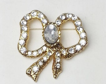 Vintage Large Rhinestone Gold Golden Bow 1960's Costume Jewelry Mid Century Hollywood Glamour Brooch Pin Gift For Her on Etsy
