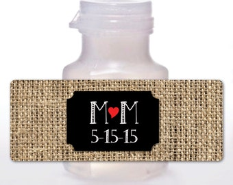 CHALKBOARD Bubble Labels, Burlap Background, Rustic Favors, Country, Fall Wedding, Bridal Shower, Anniversary Party, Heart, Custom Initials