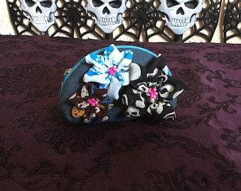 Flowers with skulls purse
