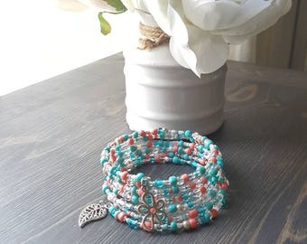 Bracelet with summer colors, white, turquoise, coral, memory wire, seed beads, 7 rows, flower, leaf