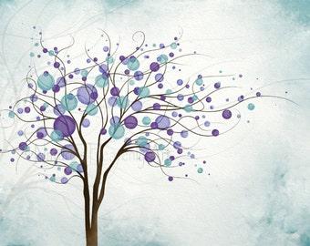 Wind Blowing Tree Art 5 x 7 Wall Print, Purple Aqua Home Decor, Circle Wall Decor (115)
